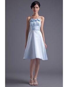 New Arrival A-Line Satin Halter Sleeveless Spaghetti Strap Graduation Dress  Girls Flowers Sashes Pleat Dresses For Graduation 44137e33dec6
