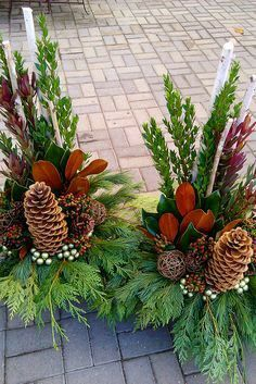 Large pine cones and cedar Christmas Urns, Christmas Planters, Christmas Flowers, Christmas Crafts, Christmas Flower Arrangements, Christmas Centerpieces, Floral Arrangements, Cemetery Decorations, Xmas Decorations