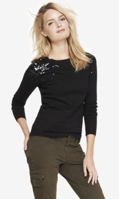 SEQUIN SHOULDER CREW NECK SWEATER from EXPRESS for colleen, in olive color