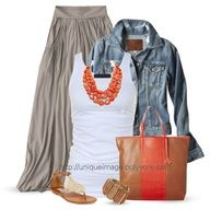 maxi skirt and orange necklace