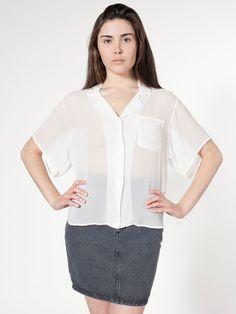 Short Sleeve Boxy Blouse - American Apparel