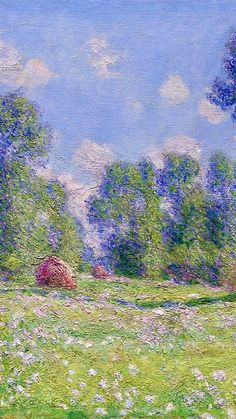 1890 - Effect of Spring, Giverny, Claude Monet (detail) Famous Art Paintings, Monet Paintings, Landscape Paintings, Claude Monet, Art Et Architecture, Impressionist Paintings, Renaissance Art, Of Wallpaper, Aesthetic Art