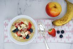 Miam O fruits Menu, Fruit, Oatmeal, Breakfast, Food, Banana, Canola Oil, Menu Board Design, The Oatmeal