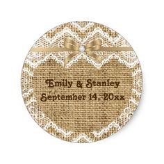 White lace, linen burlap wedding Save the Date Sticker