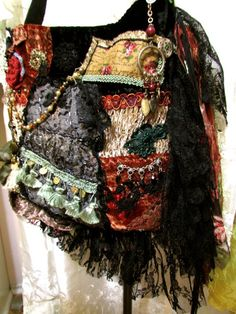 Gypsy Bag bohemian purse lace fringe beads buttons by GrandmaDede