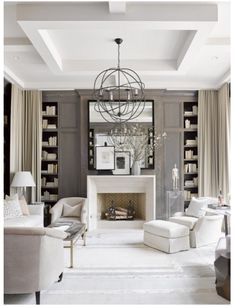 Stunning Sitting Room - Soft Grey Walls with cream curtains & upholstery