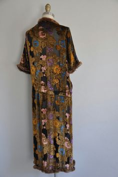 vintage 1920s dress/ 20s rare floral burnout velvet and fur dress