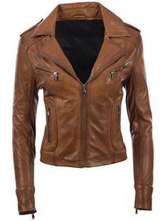Aviatrix Veste Elegante de style motard pour femmes en cuir veritable  souple (N8UL) Cuir dd034e79bce