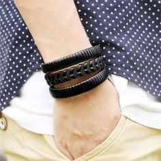 Bracelet - Vintage Leather Bracelet With Wide Cuff