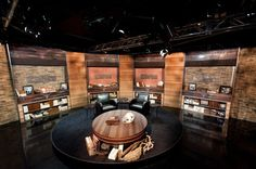 Explore photos of Longhorn Network's TV set design in this interactive gallery of the studio. Tv Set Design, Virtual Studio, Tv Decor, Home Decor, Outdoor Settings, Longhorn Network, Espn, Interview, Inspiration