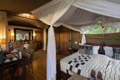 Luxurious and stylish Little Vumbura guest tent interior Okavango Delta, Secret Life, Housekeeping, Wilderness, Safari, Tent, Interior Design, Luxury, Furniture