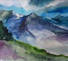 "ORIGINAL watercolor PAINTING 10"" x 11"" of a ""Mountains view"" signed"
