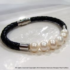 WAS+$149+NOW+ONLY+$49.99!+**2ND+MOST+POPULAR!!+Cultured+Pearl+Bracelet+Bolo+leather+Bracelet