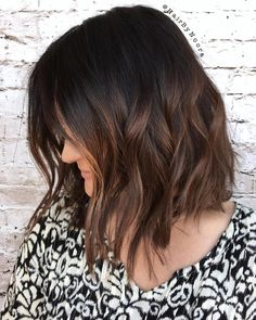 Brown Balayage Wavy Lob