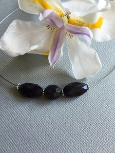 Amethyst choker necklace by PrettyStoneCreations on Etsy
