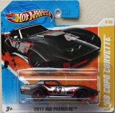 '69 COPO CORVETTE (Black with flames and red detail) * 2011-2012 Hot Wheels #4/244 HW Premiere #04/50 1:64-scale car on SHORT CARD