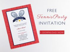 This free invitation is a perfect match for all tennis fans. Use for a birthday, anniversary, or US Open watching party. Free Printable Wedding Invitations, Dinner Party Invitations, Party Favors, Tennis Party, Party Activities, Party Themes, Party Ideas, Party Planning, Templates
