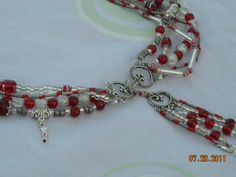 Five strand red and silver crystal  beaded heart by BeadingByJenn, $45.50