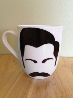 Men of TV Mug Ron Swanson by ArtDesigned on Etsy