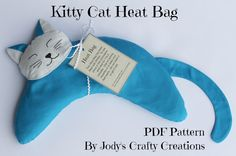 Kitty Cat Heat Bag PDF Pattern by JodysCraftyCreations on Etsy Diy Heating Pad, Rice Heating Pads, Fabric Crafts, Sewing Crafts, Sewing Projects, Cat In Heat, Pdf Patterns, Pattern Sewing, Cat Crafts