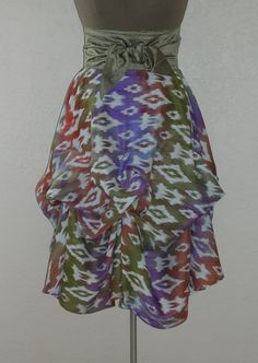 Luscious Shades of Lavender Olive and Curry Dance Across this Delicious Skirt by Laurie Schafer for Ballerina With A Gun Festival Skirts, Ikat Pattern, Tie Dye Skirt, Lavender, Curry, Shades, Trending Outfits, Ballerina, Gun