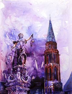 Watercolor painting on YUPO synthetic paper of City Hall and statue in center of Old Town Frankfurt, Germany