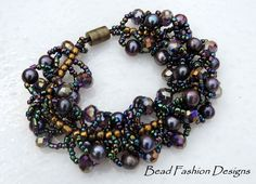 """""""SOLD"""" Peacock Cultured Freshwater Pearls,Opaque Metallic Purple Crystals,Brass & Purple Iris Seed Beads,Magnetic Clasp,Spiral Weave Bracelet.SRAJD"""