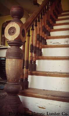 Price $1,100.00 includes 3 posts, all spindles (approx. 35), railing, and 1 stair riser with company stamp. www.onslowhistoriclumber.ca