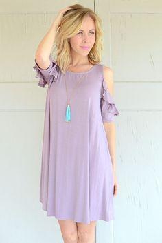 Rachel Ruffle Sleeve Dress - Lilac