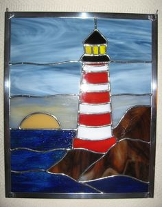 Stained Glass Lighthouse Panel by StainedGlassYourWay, $90.00