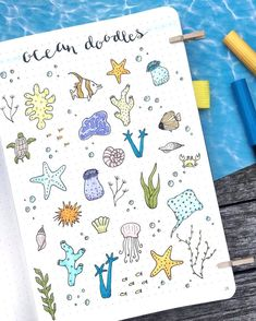 Ocean Doodles by ig nicole josephinee illustrati Bullet Journal Police, Bullet Journal 2019, Bullet Journal Ideas Pages, Bullet Journal Inspiration, Planner Doodles, Bujo Doodles, Doodle Drawings, Easy Drawings, Sketch Note