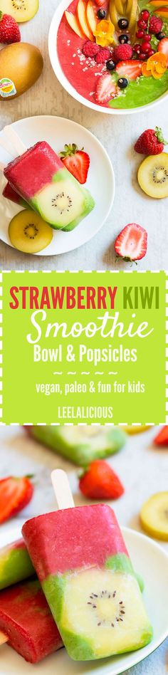 This eye-catching two tone Strawberry Kiwi Smoothie is made with Zespri Sungold Kiwifruit. This smoothie can be enjoyed in two delicious ways that don't require sipping - as a nourishing breakfast smoothie bowl and also as refreshing popsicles.
