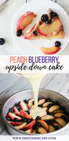 Summer Desserts just got better with this Peach Blueberry Upside Down Cake. Fresh Peaches and Blueberry roasted in caramel and baked into a soft sponge cake, then toppled over for that perfect upside-down look! Peach Blueberry Upside Down Cake recipe. Upside Down Cake Recipe. Cake Recipe. Summer Cake Recipe. Peach Desserts Recipe. Blueberry Recipes. #upsidedowncake #cake #desserts #summer #spring #peachcake #blueberries #recipe