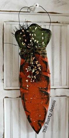 Easter Decor Spring Decor Hanging Carrot by therustygoose,