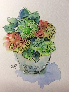 Vase of Hydrangea Watercolor Card / Hand Painted Watercolor Card Hydrangea, Yeah for Spring and Summer!!! Love all the varied colors of these gorgeous blooms!! This card is an original watercolor not a print. It would look lovely framed. This card is painted on heavy card stock. I