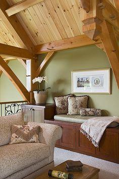 loft photo in a douglas fir timber frame home