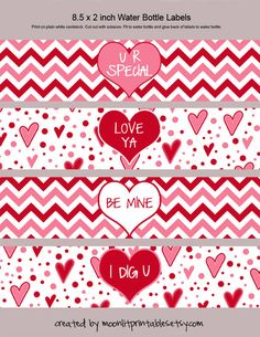 Valentine Water Bottle Labels Napkin Rings by MoonLitPrintables