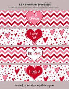 Instant Download Valentine Water Bottle Labels Valentine Napkin