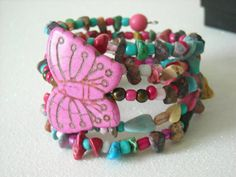 Pink Magnesite Butterfly with Mulitcolored Shell by OctoberPetals, $19.75