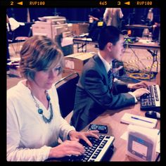 Reporter Genevieve Beauchemin and producer Phil Ling behind the scenes at the NDP Leadership Convention on March 23, 2012.