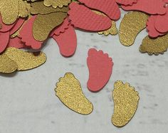 gold and coral baby feet confetti. etsy