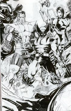 Original Comic Art:Illustrations, Jim Lee - X-Men Triptych Part-B Commission Illustration OriginalArt Marvel Comics, Hq Marvel, Arte Dc Comics, Comic Book Artists, Comic Book Characters, Comic Artist, Comic Books Art, X Men, Jim Lee Art