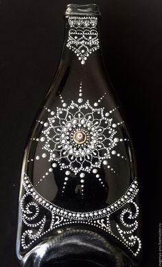 Купить Часы - бутылка настенные из стекла. - подарок на любой случай, точечная роспись