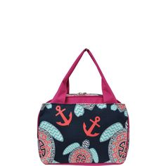 Sea Turtle Anchor Print Insulated Lunch Bag