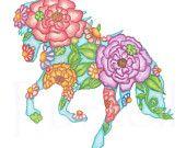 Children's Art Print 8 x 10 Prancing Horse Silhouette Nursery Art Child's Room Girls Room Children Floral Art