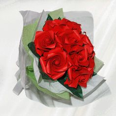 """11 Roses"" origami flower bouquet - 30 folded elements (origami flower & foliage)  - Free Shipping Worldwide - $64.99"