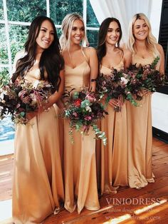 Simple Gold Long Bridesmaid Dresses Spaghetti Strap Wedding Party Dres – Viniodress