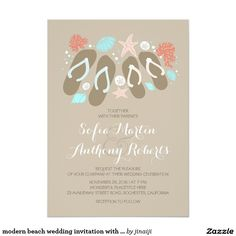 "modern beach wedding invitation with flip flops 5"" x 7"" invitation card"