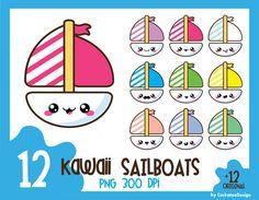 50% OFF SALE, Sailboat clipart, kawaii clip art, nautical clipart, kawaii clip art, nautical clip art, sail clipart, yacht clipart, summer