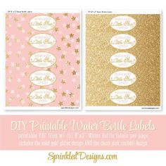 Twinkle Little Star Printable Water Bottle Labels - Drink Wraps Wrappers, Blush Pink Gold Glitter Gender Reveal, Baby Shower, Girl Birthday - SprinkledDesigns.com